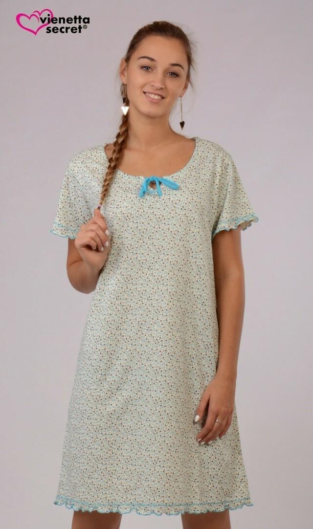 Dámská noční košile s krátkým rukávem Květina
