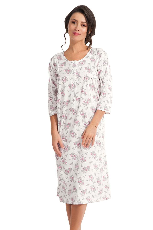 Dlouhá noční košile Dorota ecru s růžovými květy - XL
