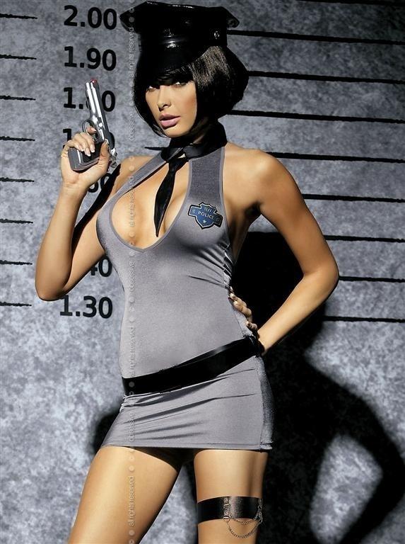 Sexy kostým Police dress XXL - Obsessive - XXL - šedá