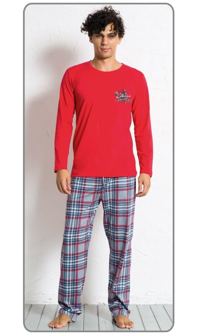 Pánské pyžamo dlouhé Denis 4169 - Gazzaz - M - červená