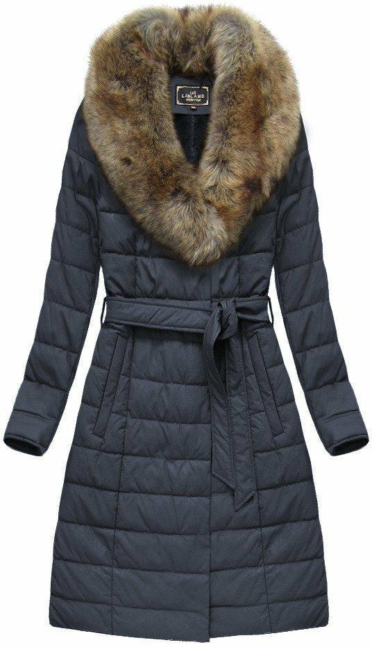 Tmavě modrý dámský zimní kabát (5528) - S (36) - tmavěmodrá