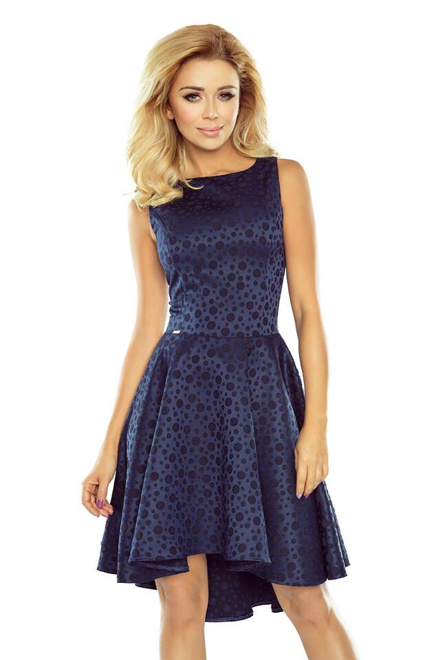 175-3 Tmavě modré výjimečné šaty s delším zadním dílem a žakárovými koly - S