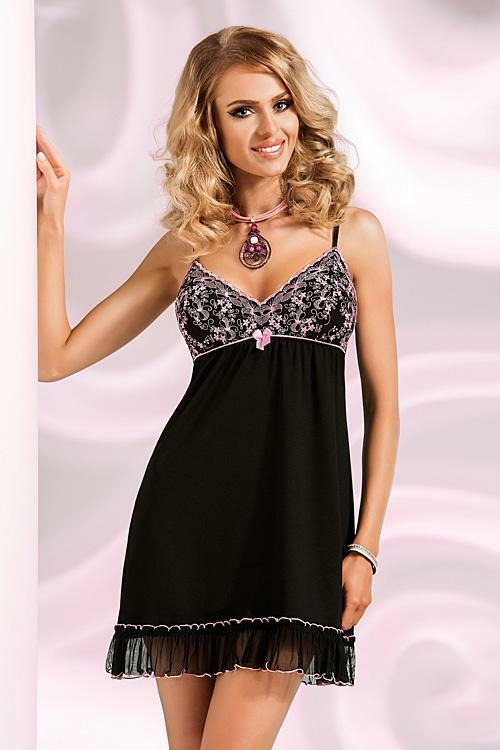 Noční košilka Donna Ines II - XL - černá