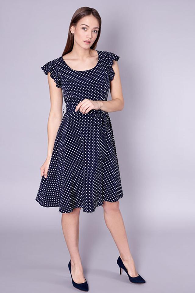 Dámské šaty Savona 60-071 - Click Fashion - 40 - tm.modrá s puntíkem