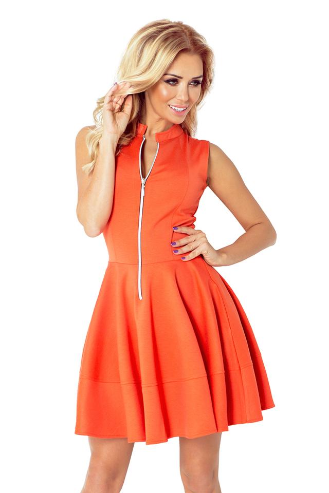 Oranžové šaty se zipem a kapsami 123-5 - M