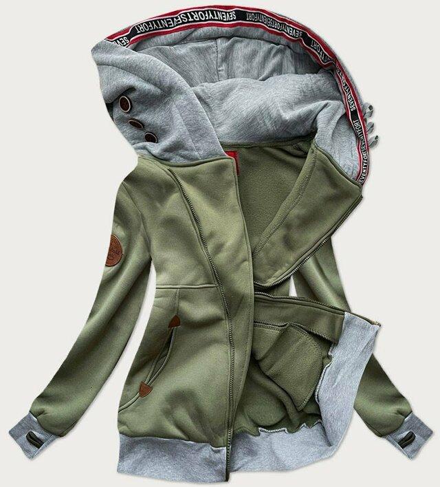 Dlouhá dámská mikina v khaki barvě s asymetrickým zipem (560) - L (40) - Khaki