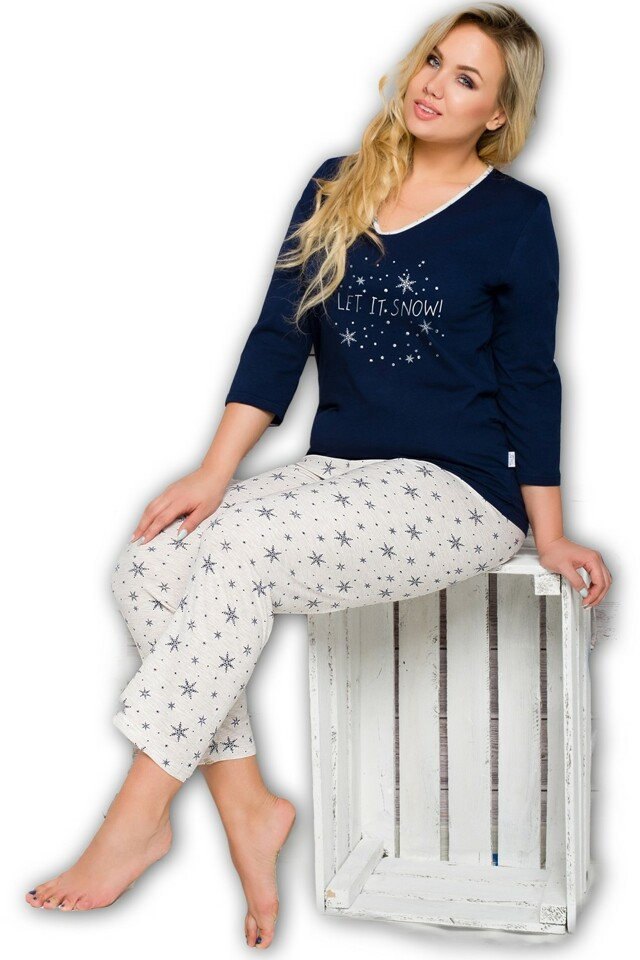 Dámské pyžamo Lena 146 blue-ecru - XXL - modrá