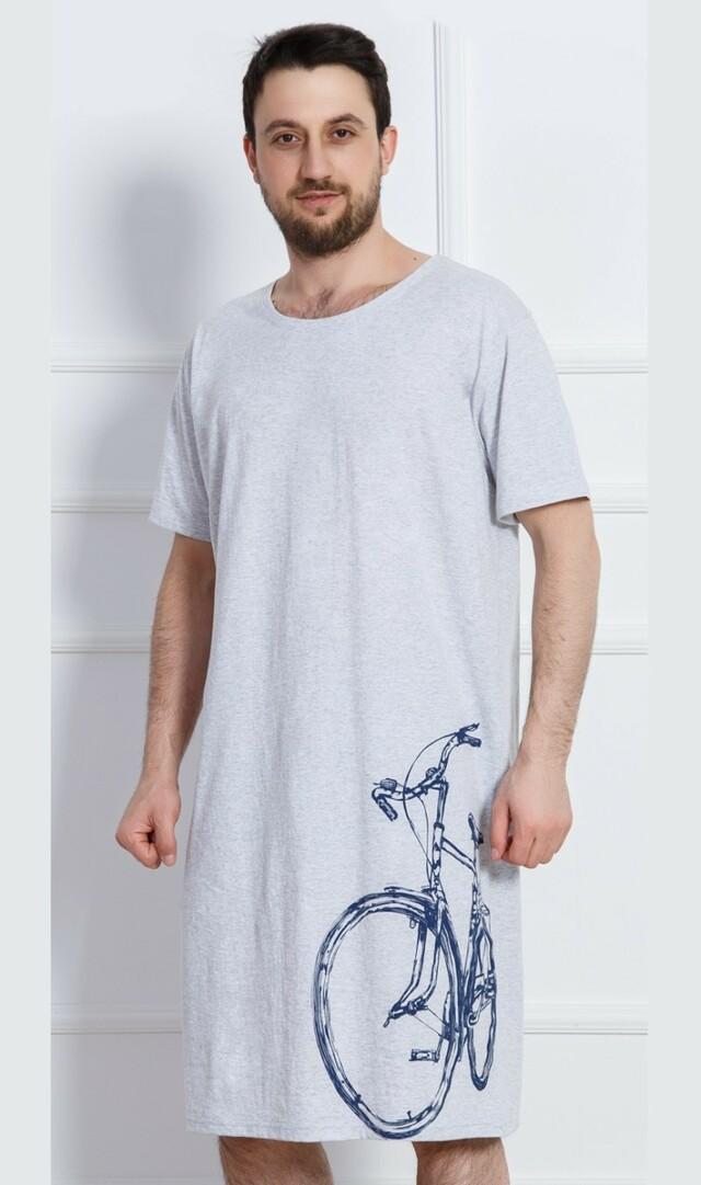 Pánská noční košile s krátkým rukávem Bicykl - šedá XL