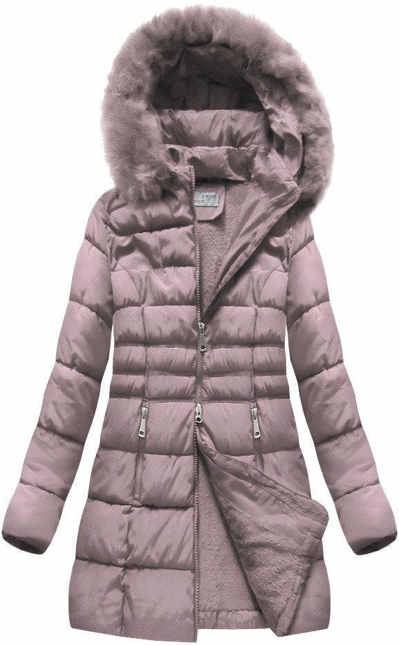 Růžová zimní dámská bunda prošívaná (B1053-30) - 54 - růžová