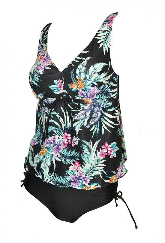Dámské plavky tankini Viki - Mariss - L - černá s květy