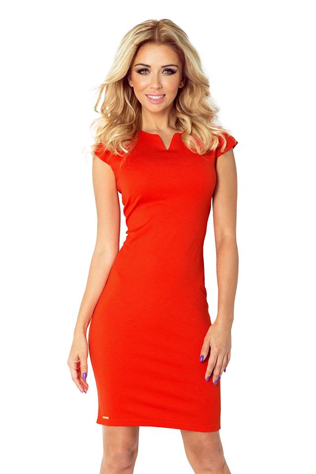 Oranžové šaty s výkrojem ve výstřihu model 4976903 - XL