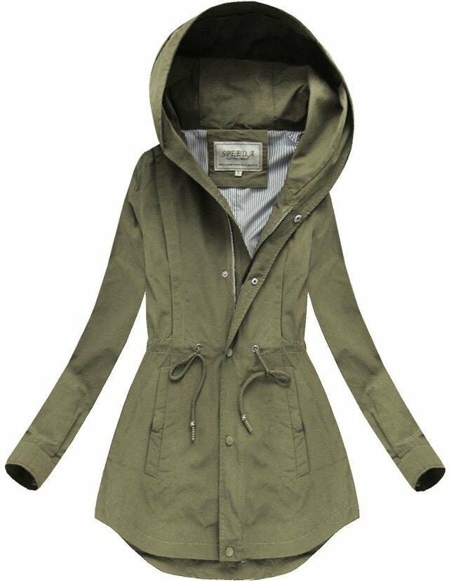 Bunda parka v khaki barvě s kapucí (W726) - XL (42) - khaki