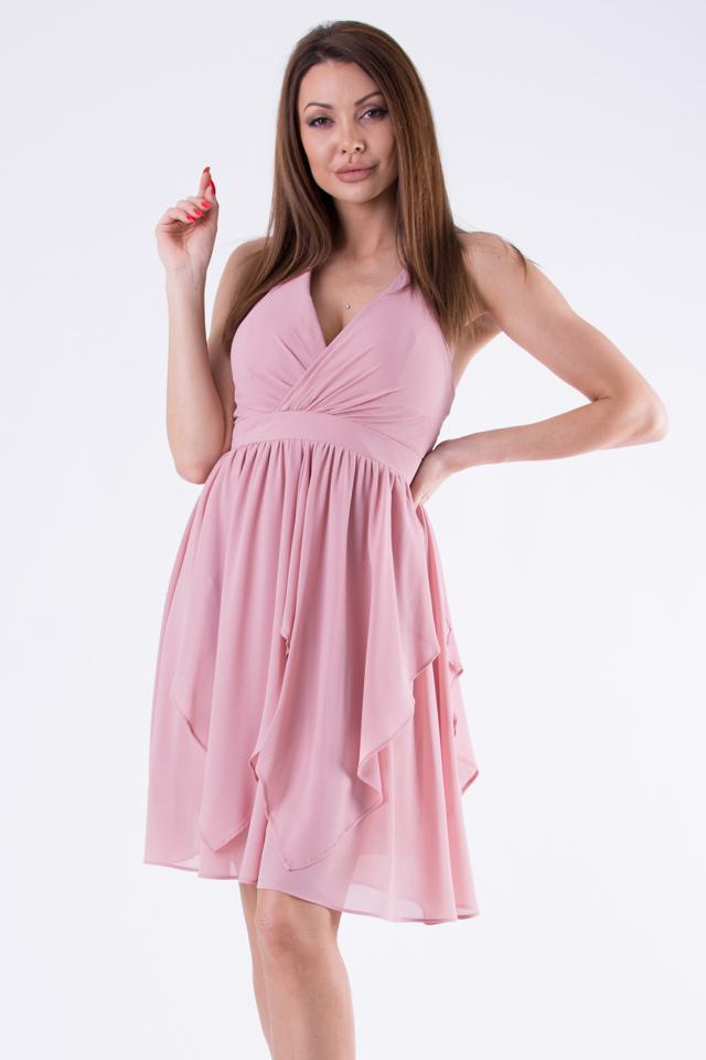 f68265641898 Růžové šaty EVA LOLA 58005-4 - M