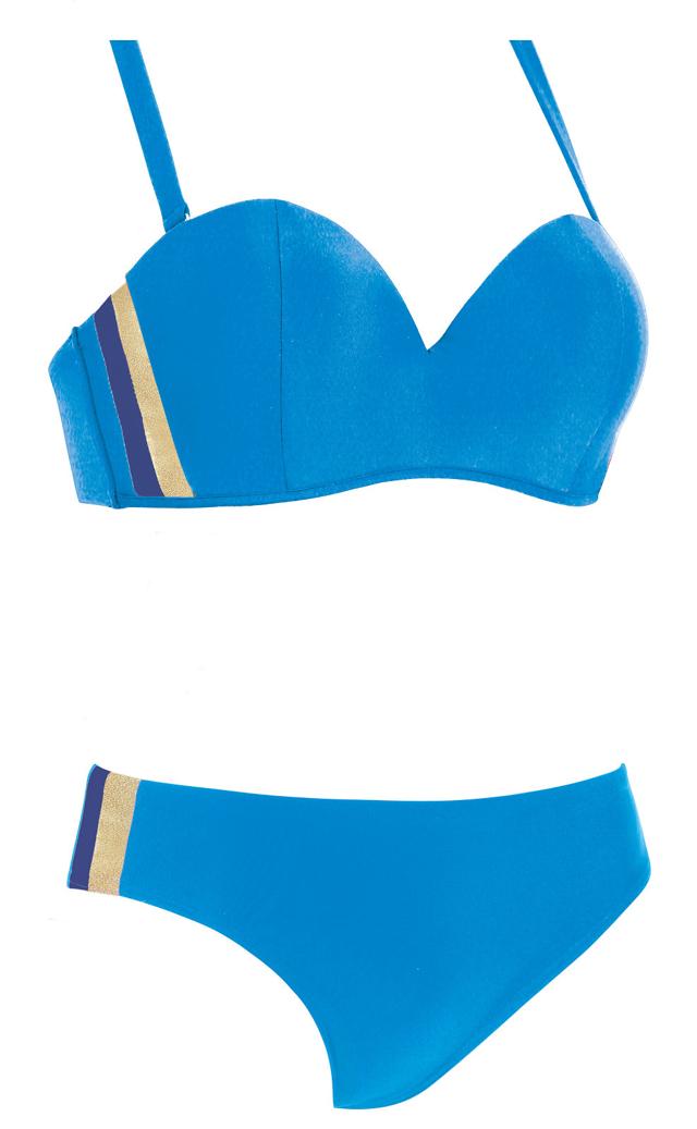 Dvoudílné dámské plavky Self S 730 NK3 - 42G-XL - modrá