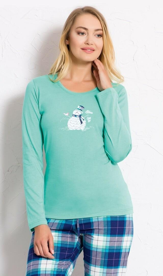 Dámské pyžamo dlouhé Sněhulák s kloboukem - světle lososová S