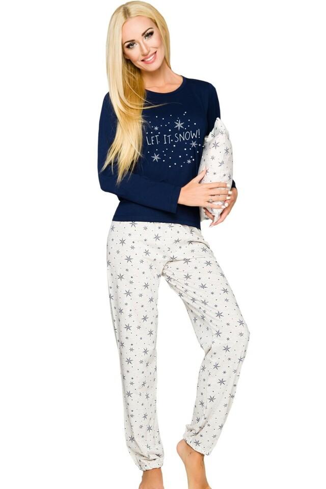 Dámské pyžamo Daga 965 blue-ecru - XL - tmavě modrá