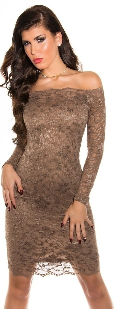 Večerní dámské šaty s krajkou Koucla IN-SAT 1035 CA - L - hnědá