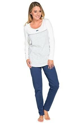 Dámské pyžamo Larysa ecru modré - XL