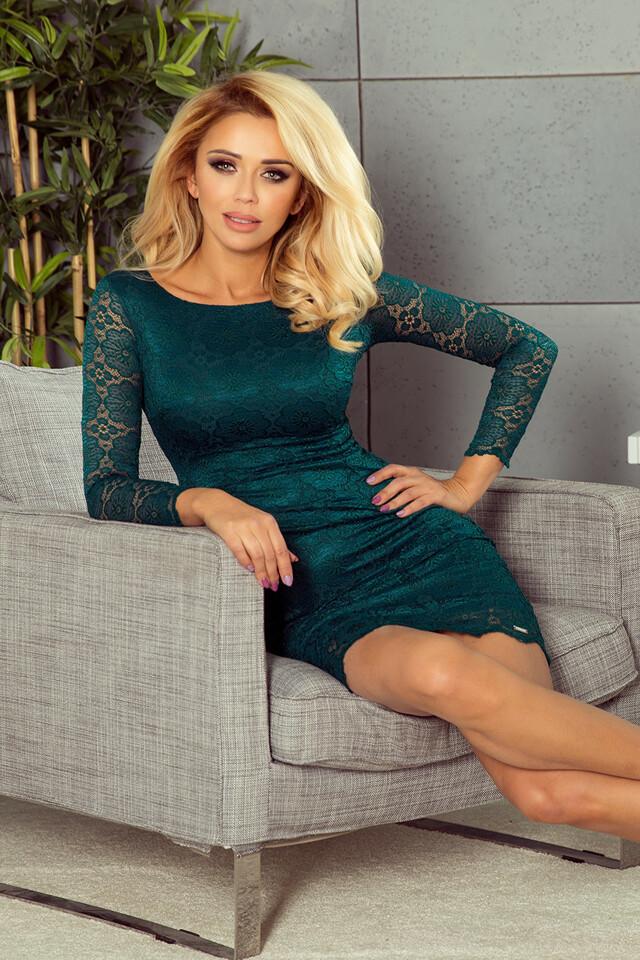 180-2 Lahvově zelené krajkové šaty - XL
