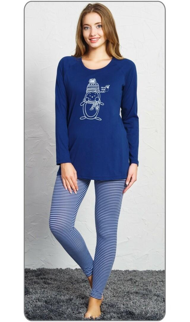 Dámské pyžamo dlouhé Tučňák s čepicí - tmavě modrá M