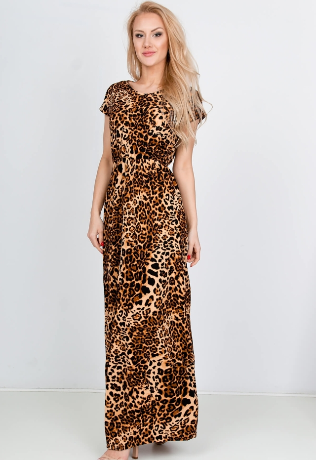 07bc3404adbe Hnědé dámské maxi šaty s panteřím vzorem - M - Hnědá