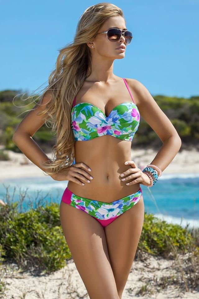 dd201c05d Dámské dvojdílné plavky Ewlon Ibiza - 36 - zelená-růžová