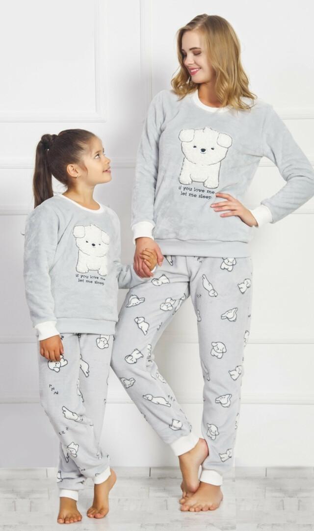 Dětské pyžamo dlouhé Štěňátko - šedá 7 - 8