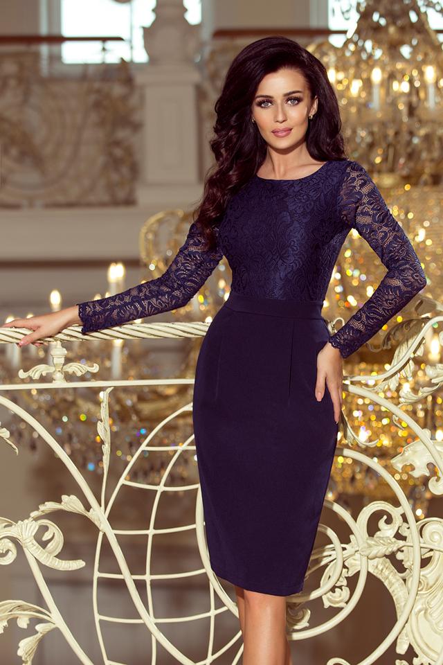 4608b1a5ee49 Elegantní dámské tmavě modré tužkové šaty s krajkou 216-1 EMMA - S