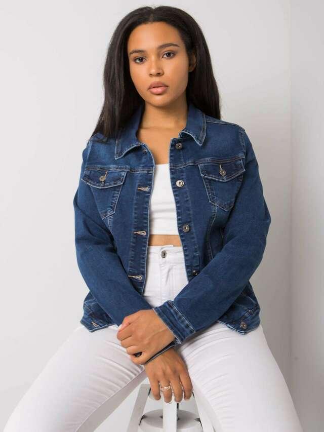 Modrá krátká džínová bunda plus size - 2XL