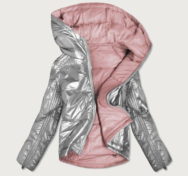 Oboustranná šedo-růžová lesklá dámská bunda (B9553) - M (38) - růžová