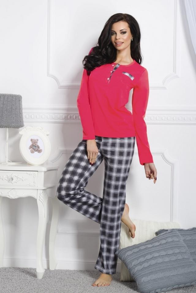 Dámské pyžamo 1195 Gizela red-grey - S - šedo-červená