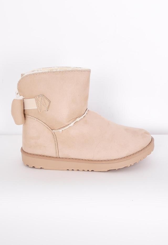 Dámské boty typu válenky s mašlí - 38 - Pudrově růžová