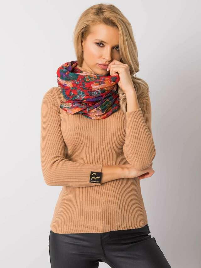 Červený květinový šátek - jedna velikost
