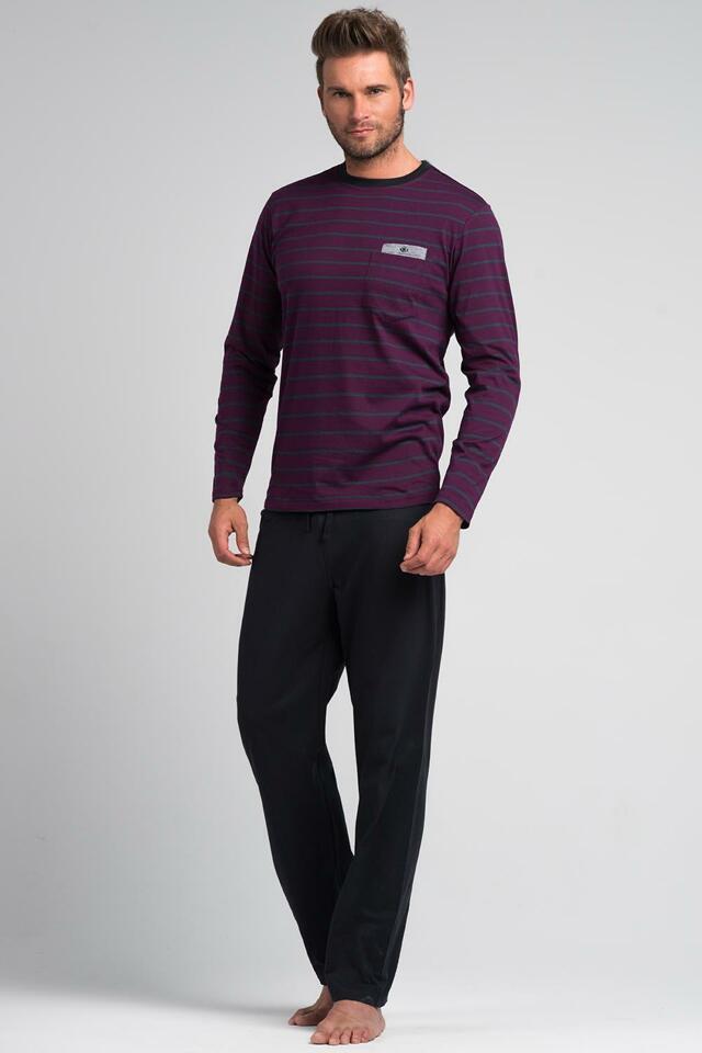 Pánské pyžamo Rossli SAM-PY 054 - M - fialová/šedá