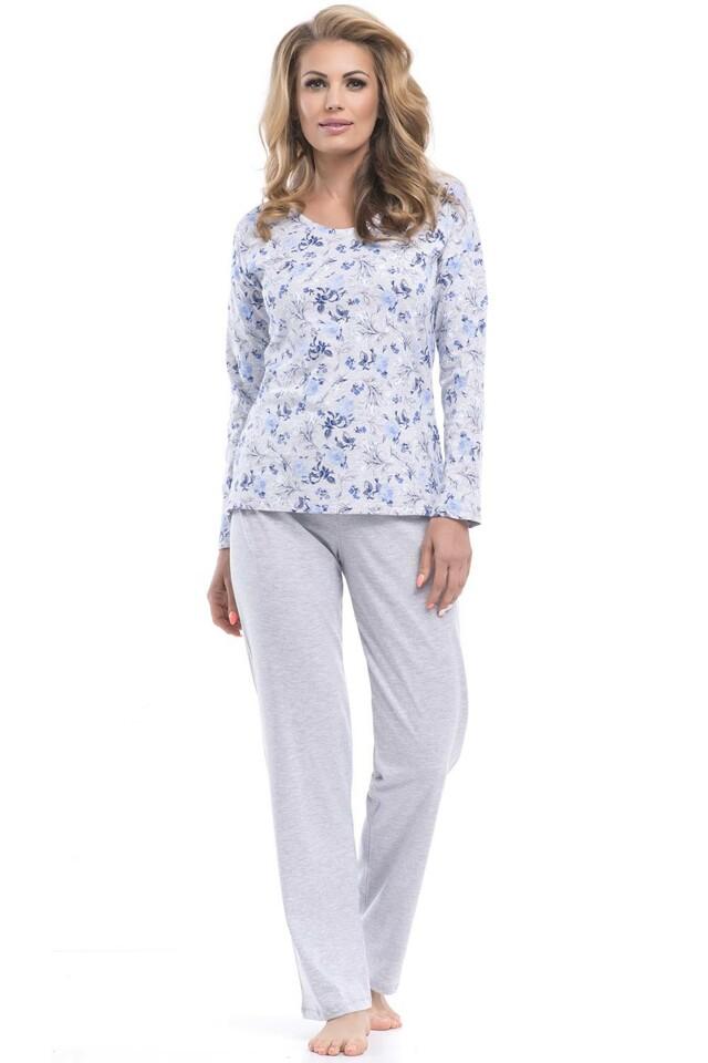 Dámské pyžamo Dobranocka PB.8052 - L - šedá modrá