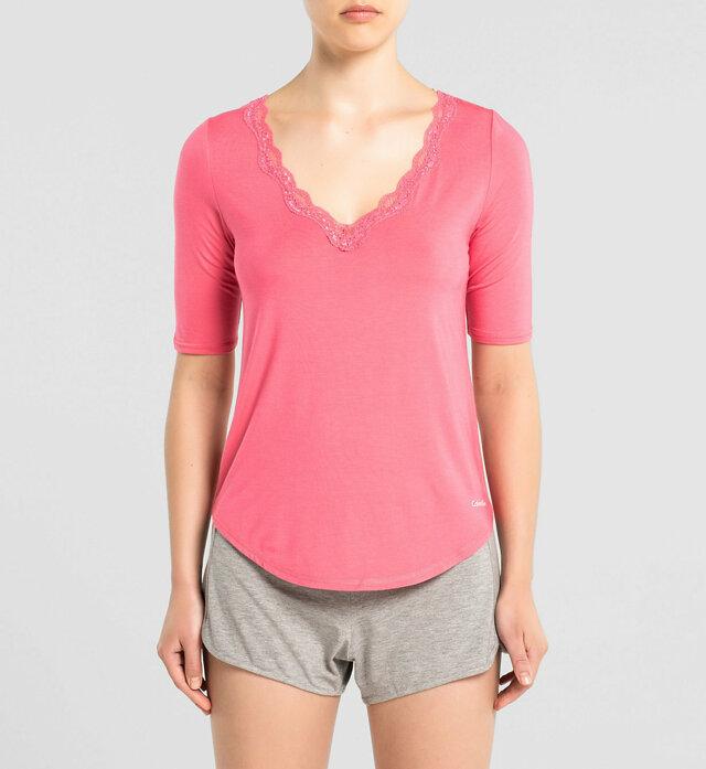 Dámské tričko Lace Trim Top QS5661E - Calvin Klein