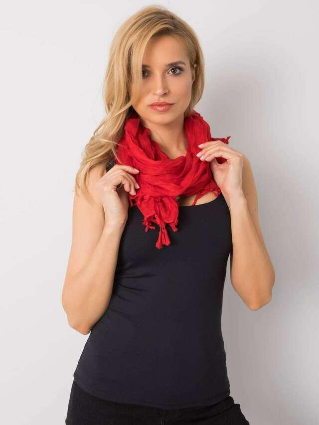 Dámský červený šátek s třásněmi - jedna velikost