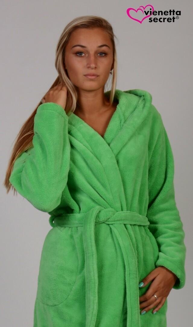 Dámský župan krátký s kapucí Aloe - zelená L