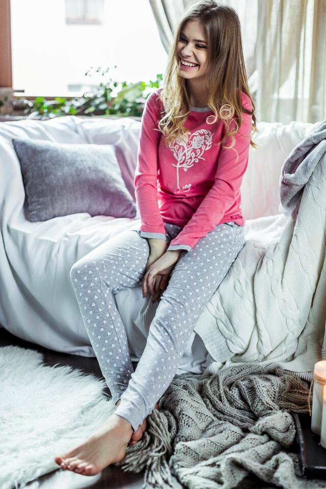 Dámské pyžamo Key LNS 812 B7 - L - korálová-šedá