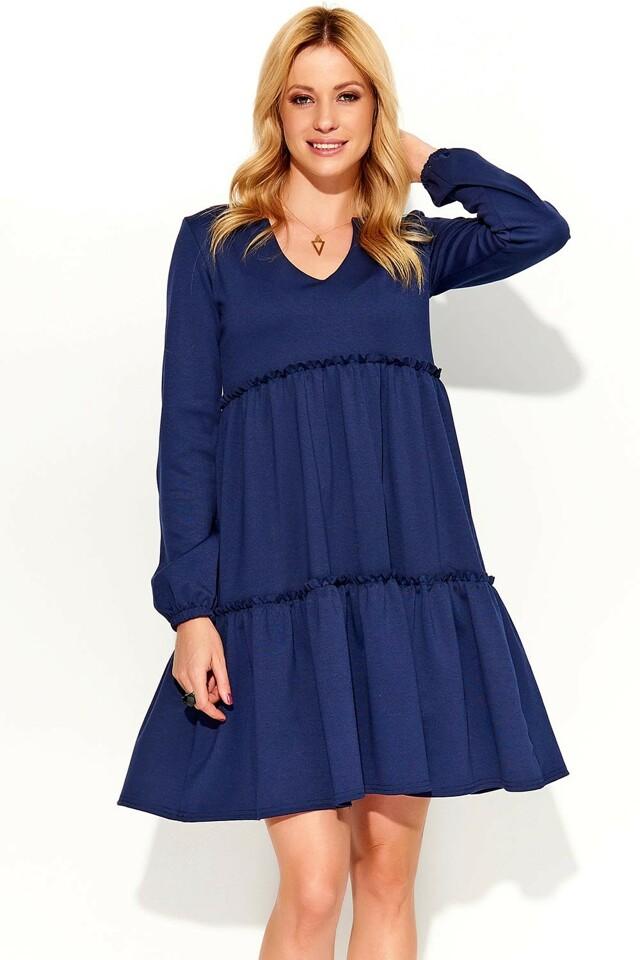 Dámské šaty Makadamia M367 - 36 - tmavě modrá