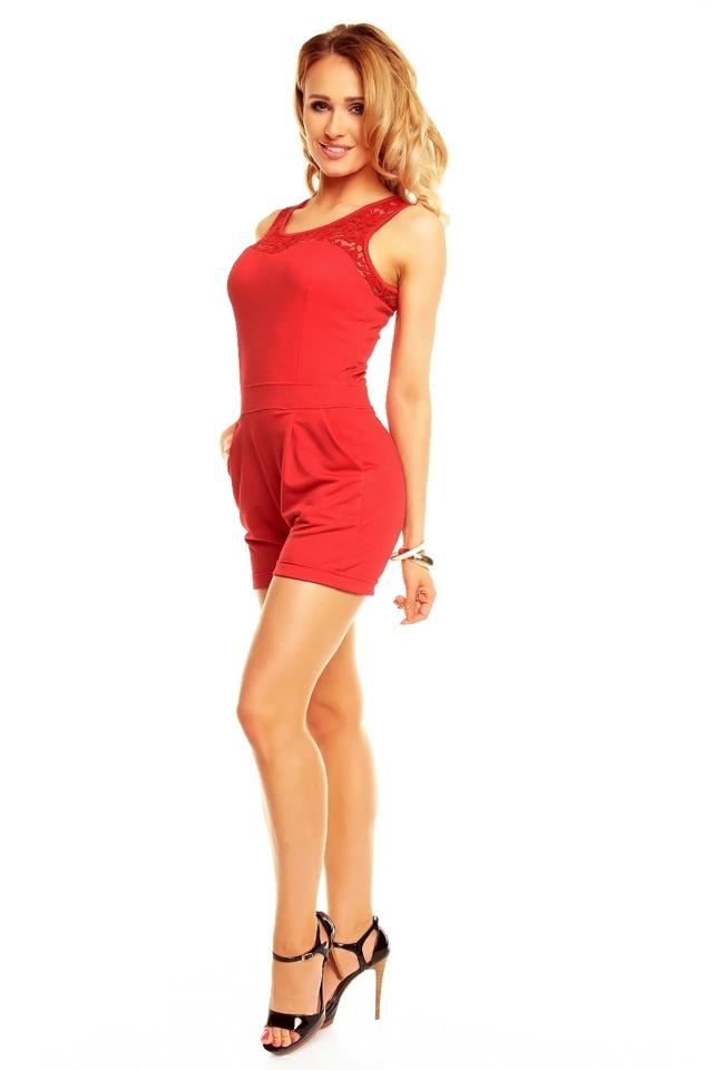 Overal dámský šortkový LV GOLD 2471 červený - Červená / UNI - House Style - uni