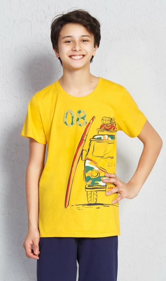 Dětské pyžamo kapri Prázdniny - žlutá 15 - 16