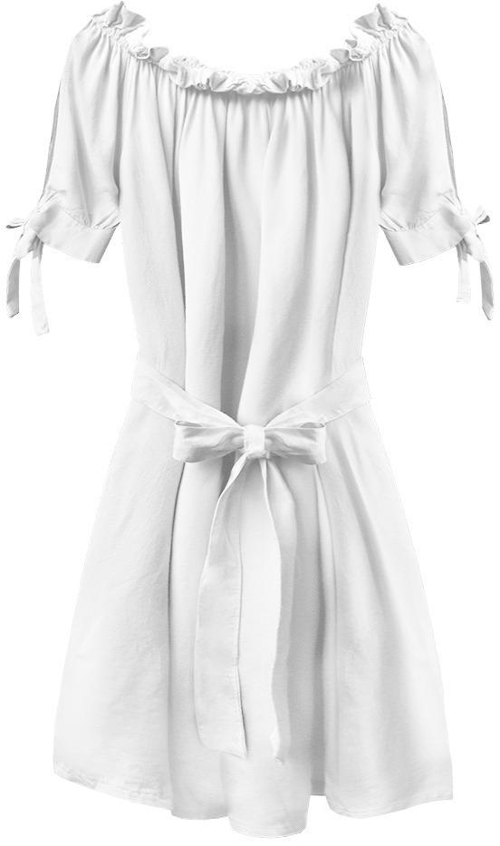 Bílá dámská tunika ve španělské stylu s páskem (279ART) - jedna velikost - bílý
