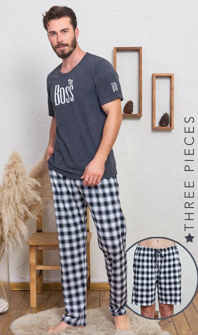 Pánská pyžamová souprava Boss - tmavě šedá 2XL
