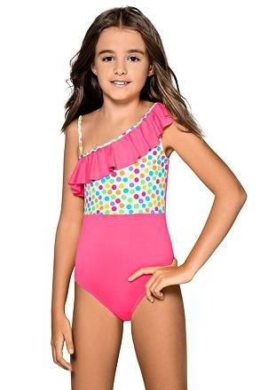 Dívčí jednodílné plavky Anetka růžové - 122