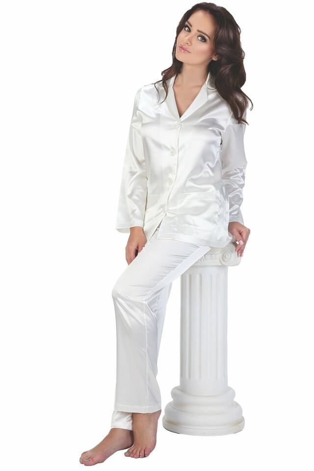 Dámské saténové pyžamo Classic dlouhé bílé - XL