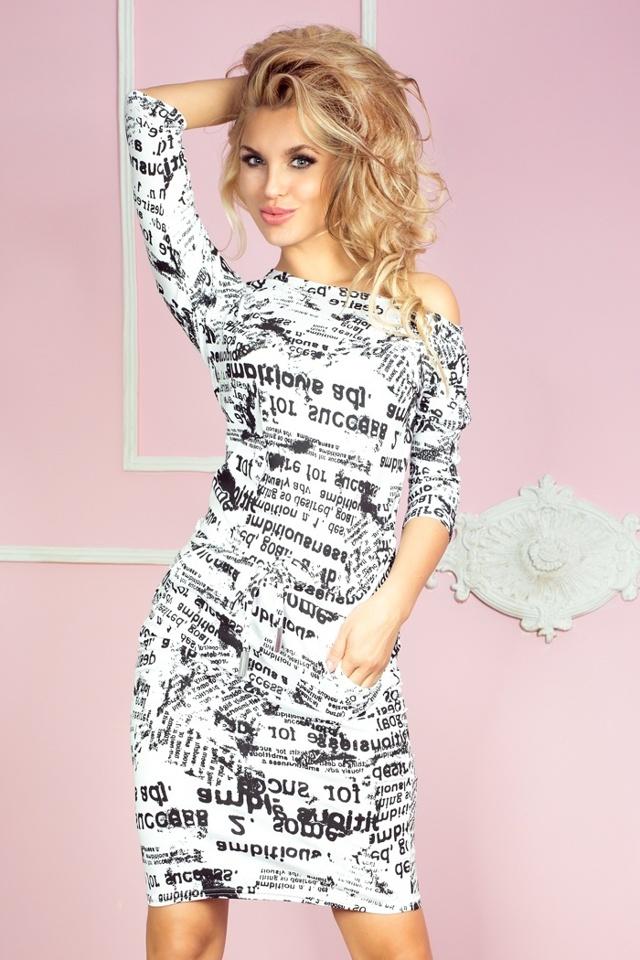 Bílé šaty s novinovými nápisy 13-25