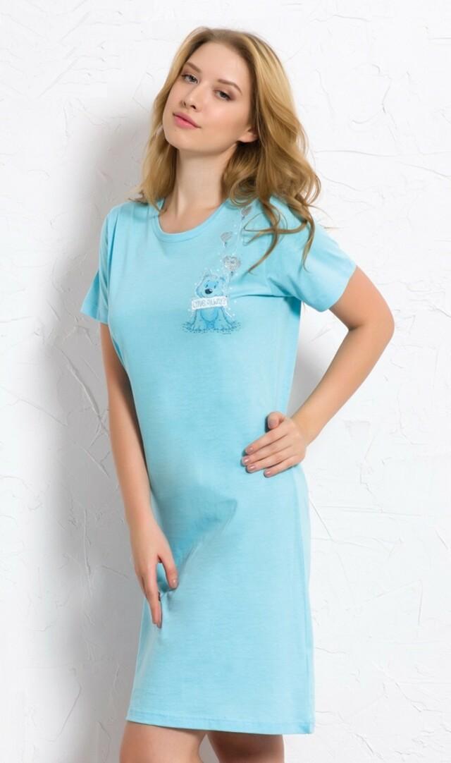 Dámská noční košile s krátkým rukávem Štěně s balónky - tyrkysová S