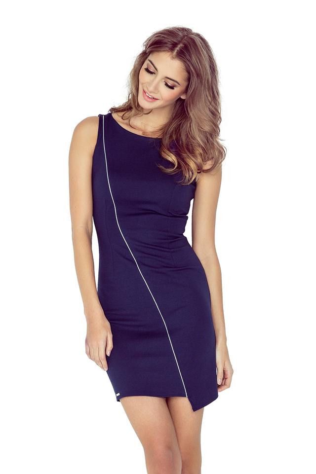 Tmavě modré asymetrické šaty s lemem MM 004-2 - M bd52855b25