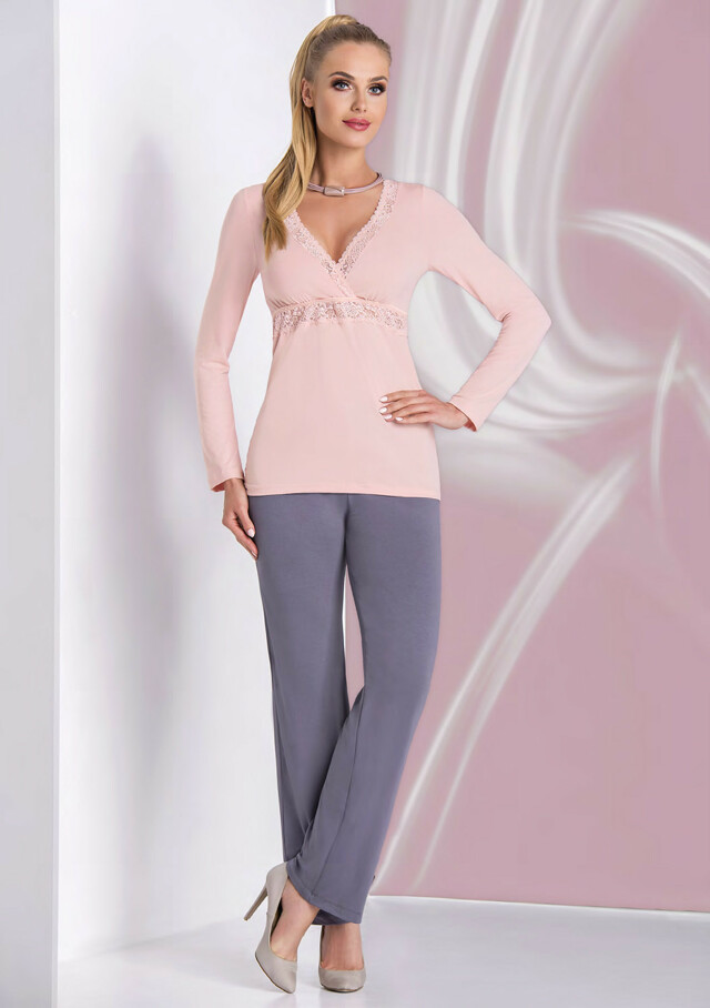 Dámské pyžamo Donna Ariana - L - špinavě růžová